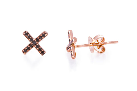 EF Collection Black Diamond X Stud Earrings