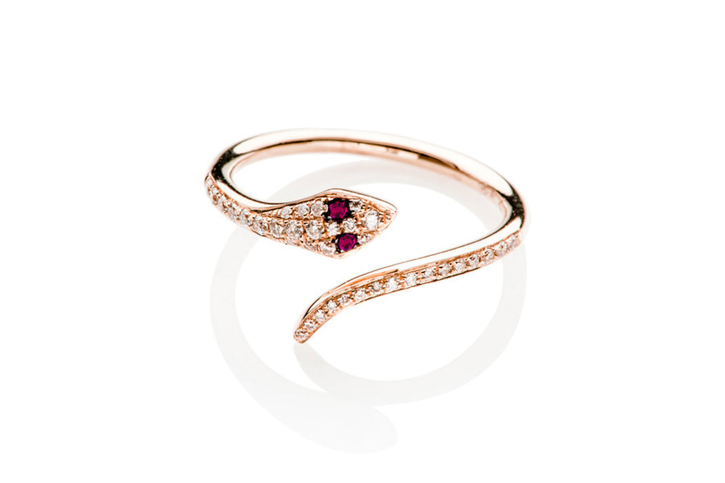 Diamond Snake Ring With Ruby Eyes