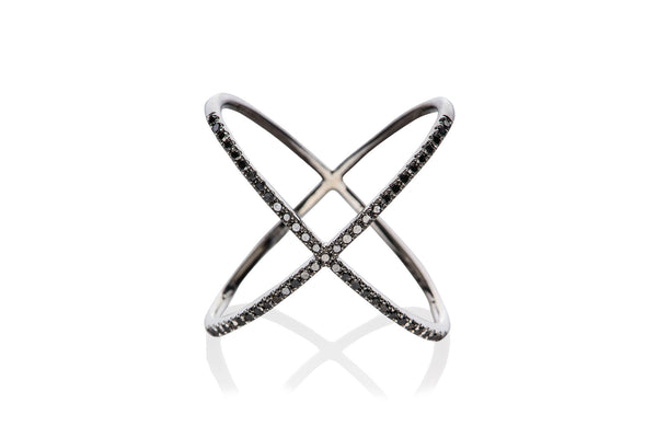 EF Collection Black Diamond X Ring - 1