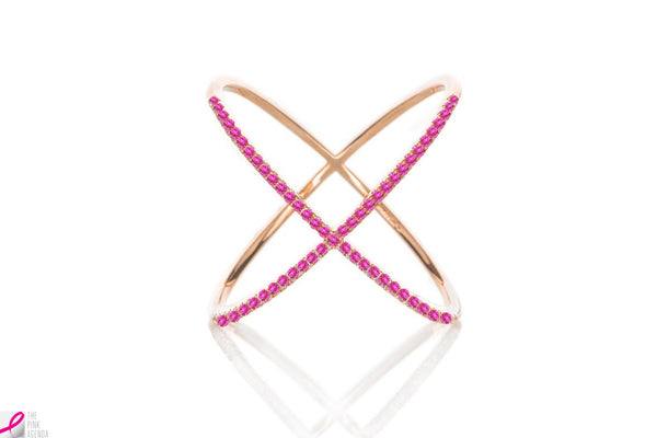 EF Collection Pink Sapphire X Ring - 1