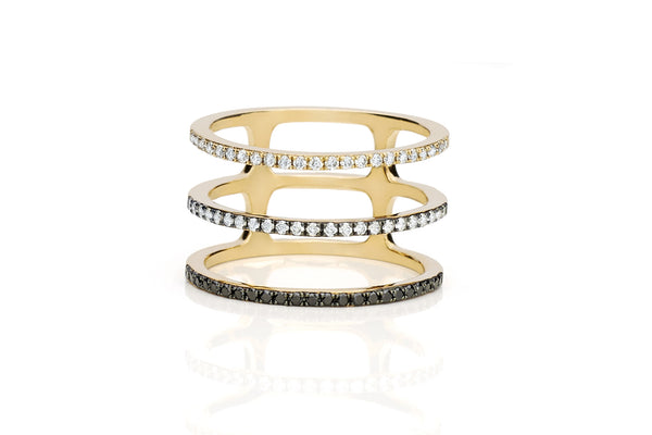 EF Collection Fade to Black Diamond Triple Spiral Ring - 1