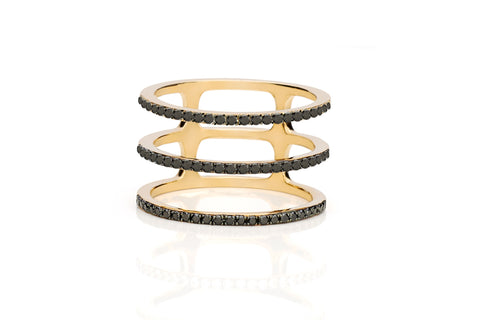EF Collection Black Diamond Triple Spiral Ring