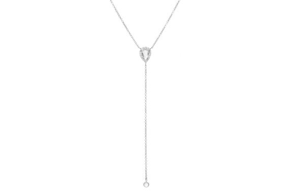Diamond White Topaz Teardrop Lariat Necklace