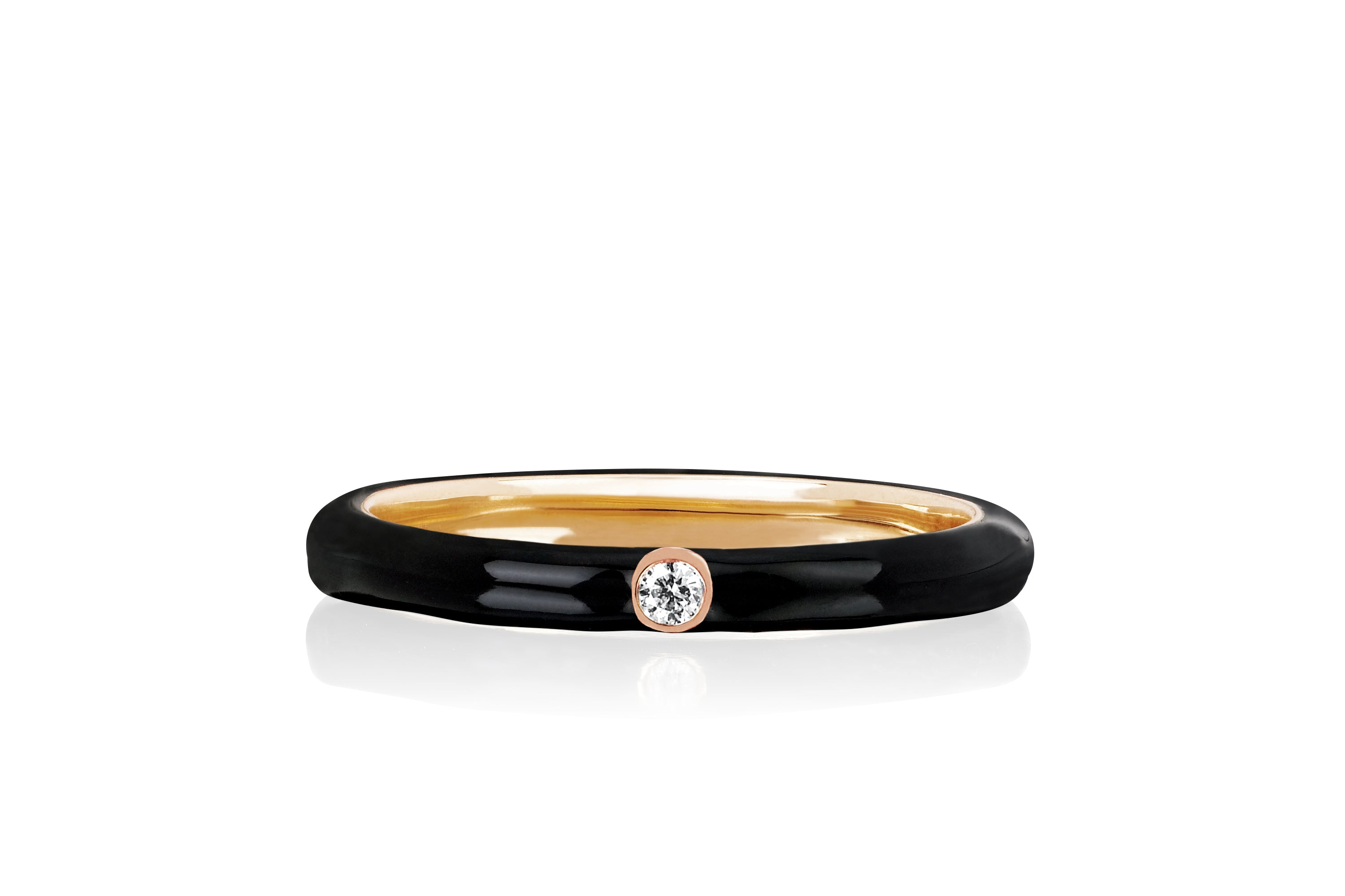 Jumbo Single Diamond Black Enamel Stack Ring
