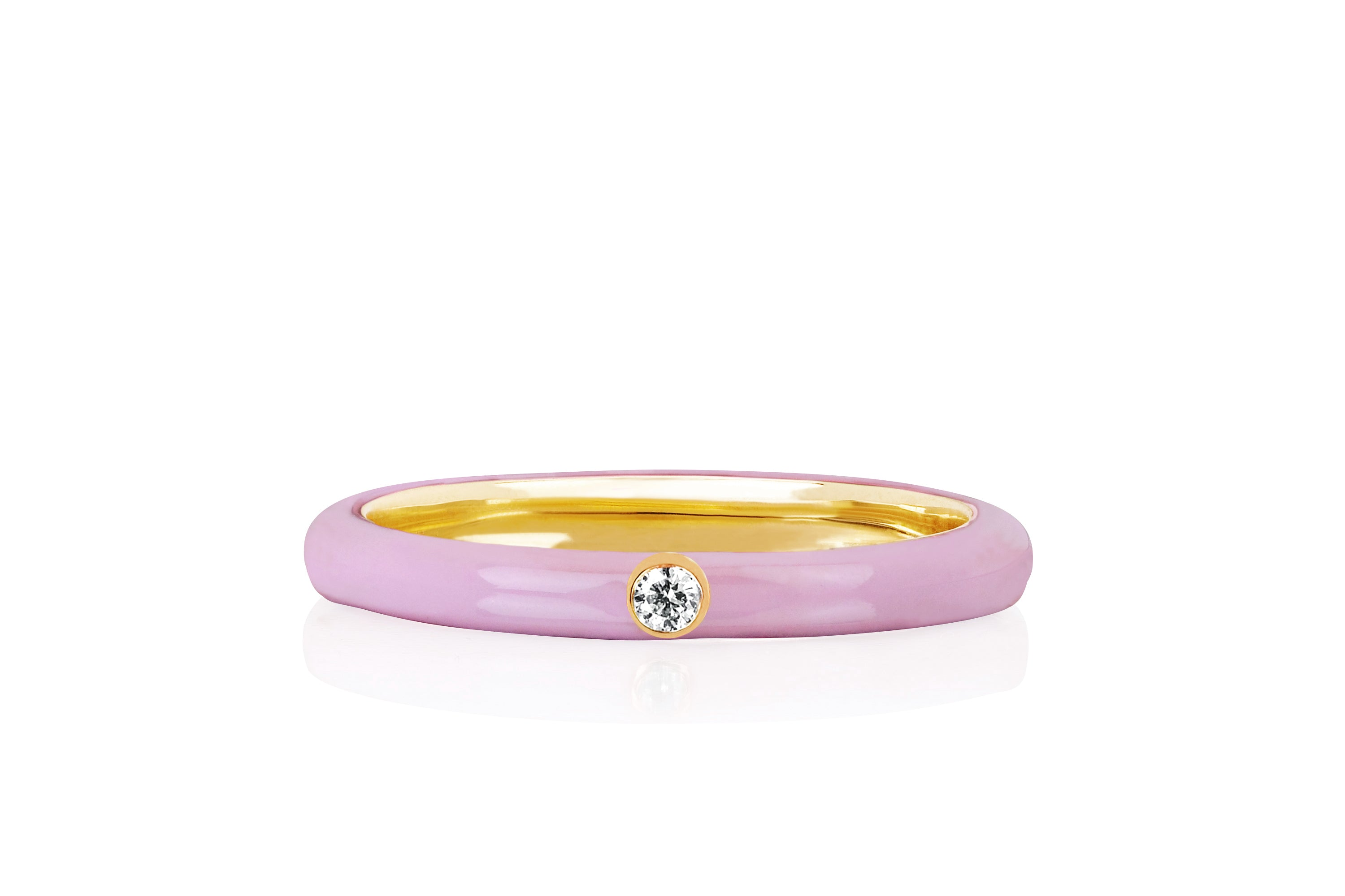 Jumbo Single Diamond Light Pink Enamel Stack Ring