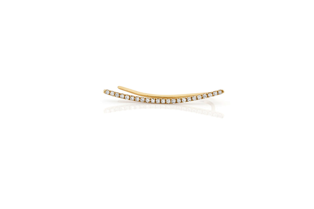 EF Collection Diamond Curved Bar Ear Cuff - 1