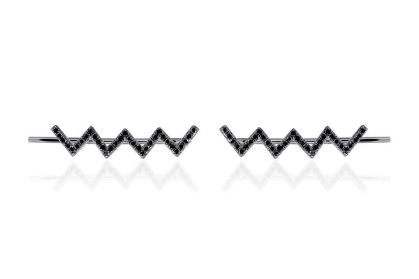 EF Collection Black Diamond Zig Zag Ear Cuff - 2