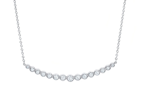EF Collection Multi Bezel Diamond Crescent Necklace - 1