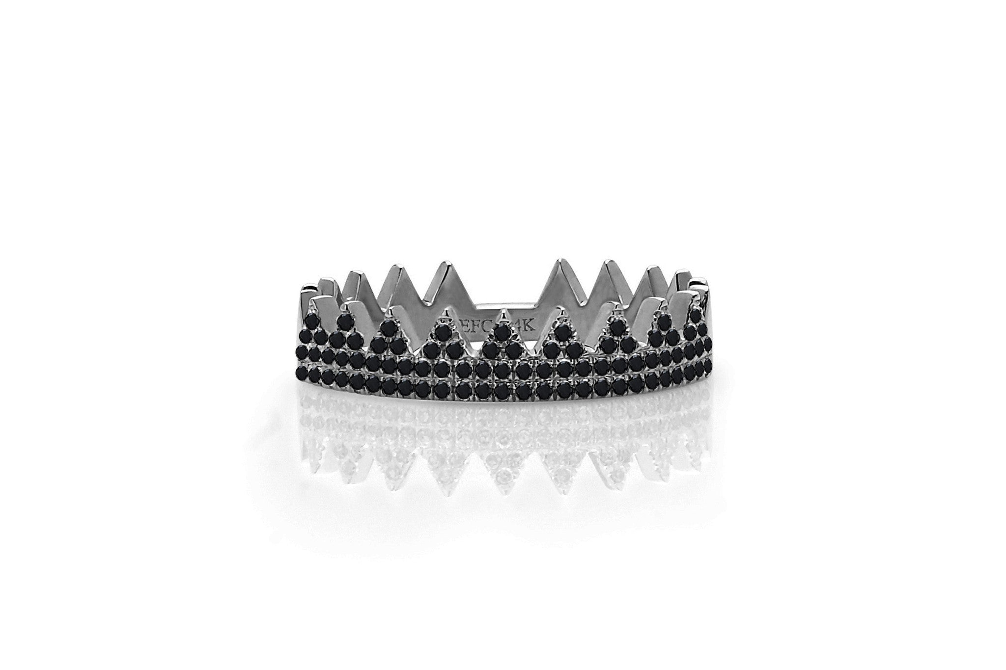 Black Diamond Crown Ring | EF Collection
