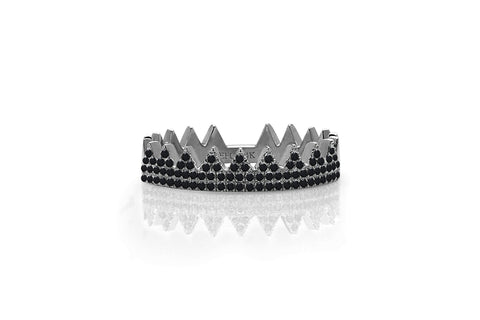 EF Collection Black Diamond Crown Ring - 1