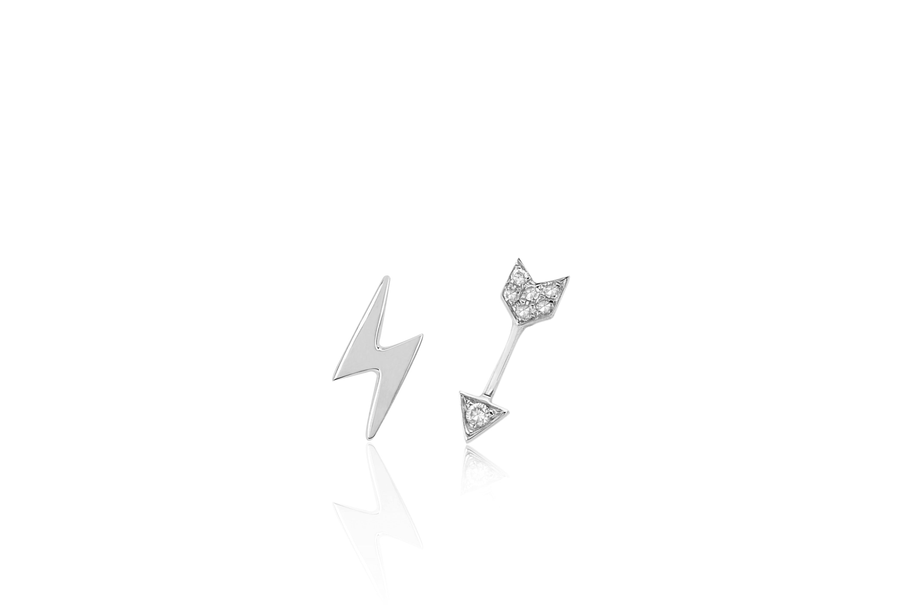 Gold Mini Lightning Bolt & Diamond Mini Arrow Stud Earring