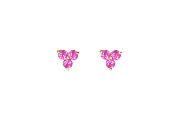 Pink Sapphire Trio Stud Earring
