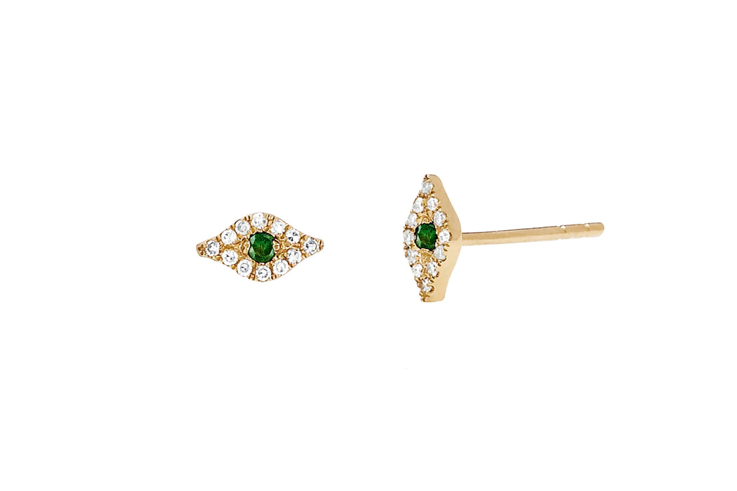Mini Diamond Tsavorite Evil Eye Stud Earring