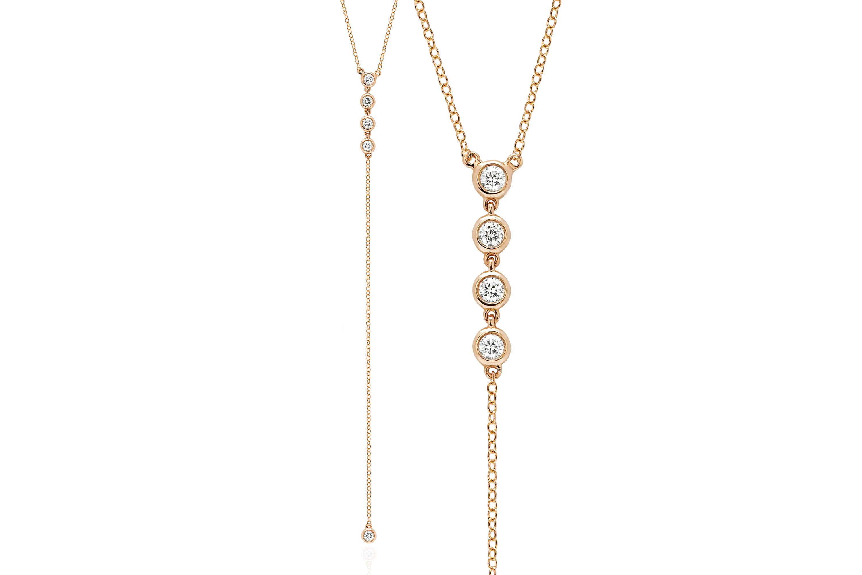 Diamond 5 Bezel Lariat Necklace