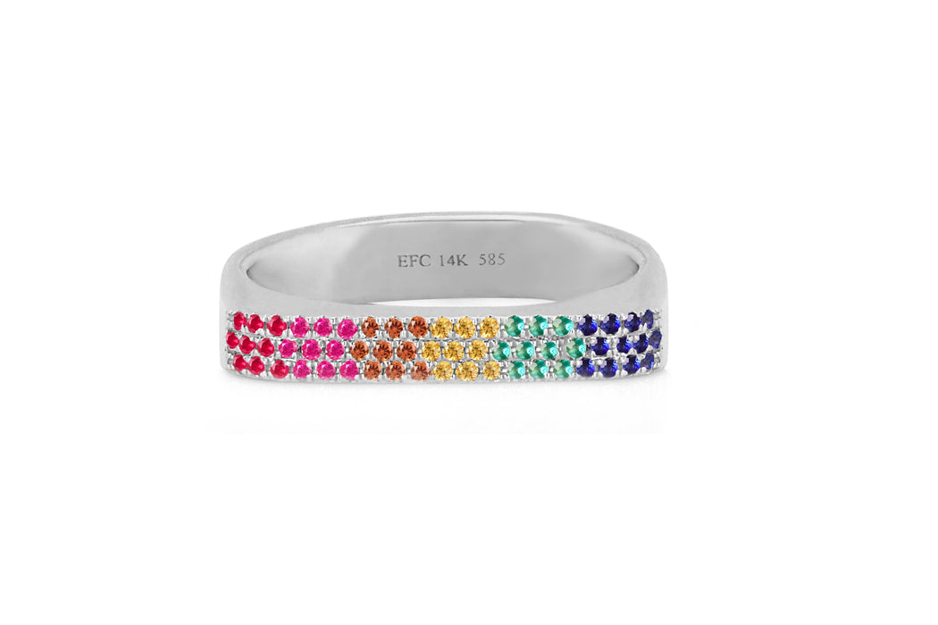 Rainbow Jumbo Bar Pinky Ring
