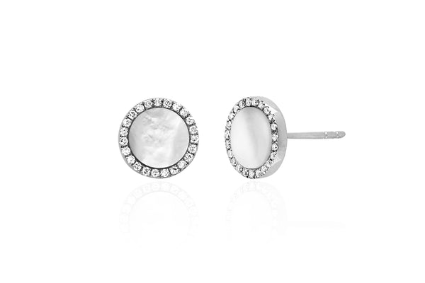 EF Collection Mother of Pearl Diamond Disc Studs - 1