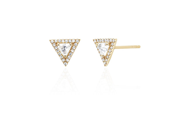 EF Collection Diamond White Topaz Triangle Stud - 1