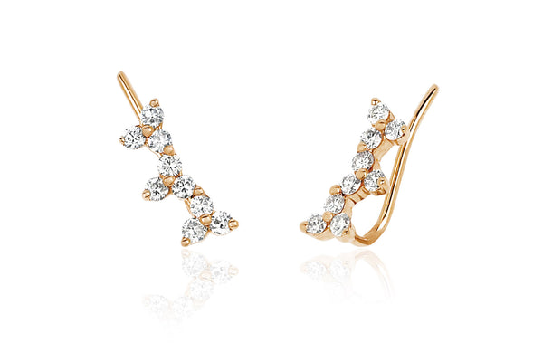 EF Collection Diamond Triple Trio Ear Cuff - 1