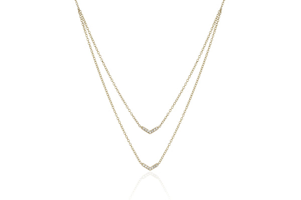 EF Collection Diamond Double Mini Chevron Necklace - 1