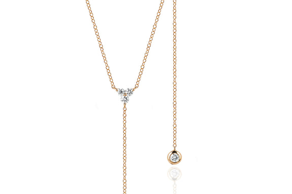 EF Collection Diamond Trio Lariat Necklace (Long Drop) - 1
