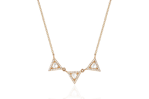 Diamond White Topaz Triple Triangle Necklace