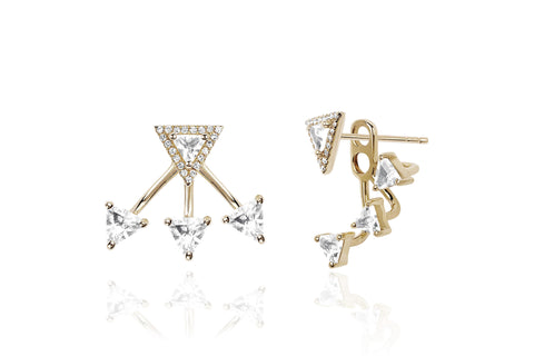EF Collection Diamond White Topaz Triangle Ear Jacket - 1