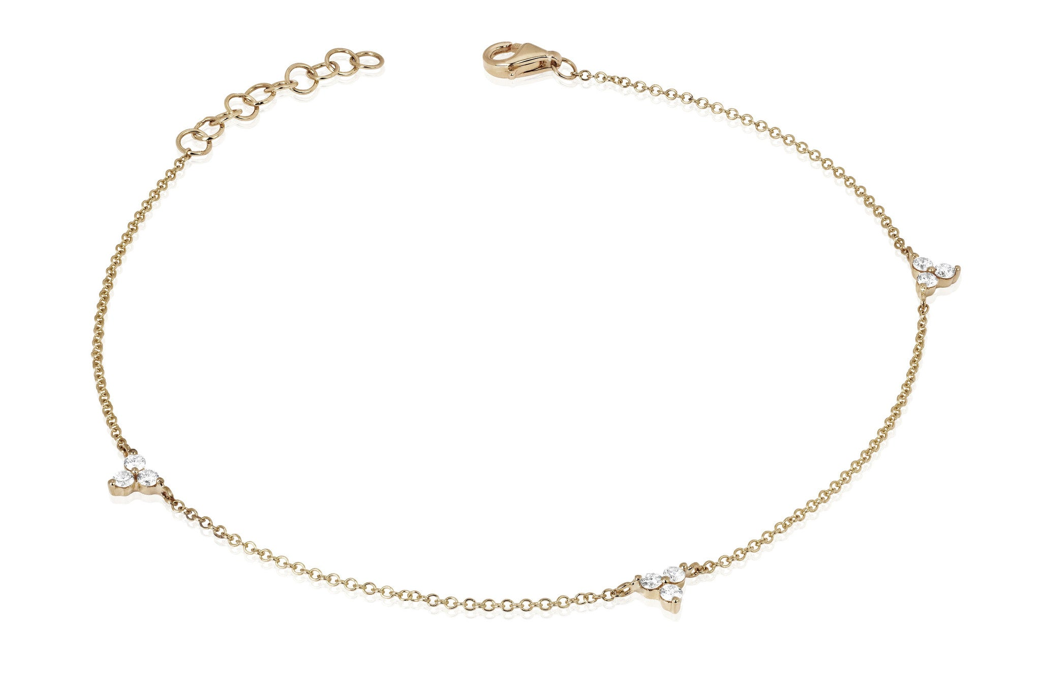 EF Collection Diamond Triple Trio Anklet - 1