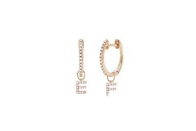 Diamond Mini Huggie With Two Diamond Initial Huggie Charms Earring