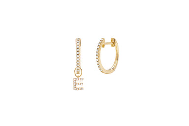 Diamond Mini Huggie With Diamond Initial Huggie Charm Earring