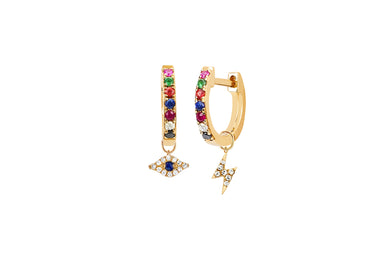 Rainbow Mini Huggie With Diamond Evil Eye Huggie Charm & Diamond Lightning Bolt Huggie Charm Earring