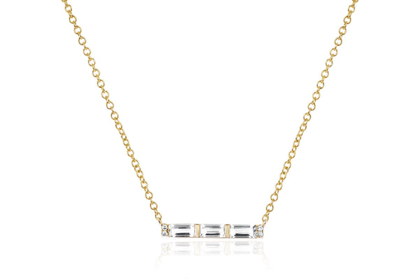 EF Collection Diamond White Topaz Baguette Mini Bar Necklace