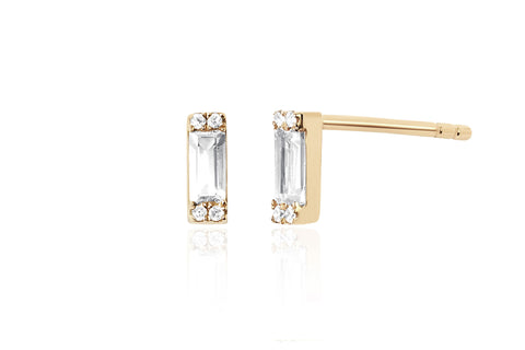 EF Collection Diamond White Topaz Baguette Stud