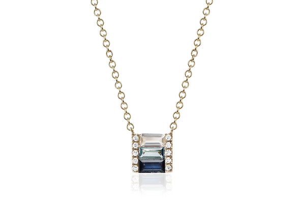 EF Collection Diamond Blue Sapphire Fade Brick Necklace - 1