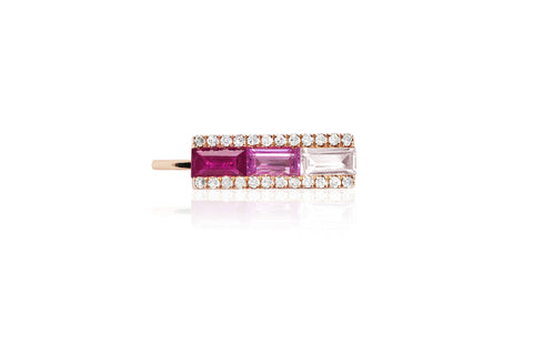 EF Collection Diamond Pink Sapphire Fade Baguette Ear Cuff - 1