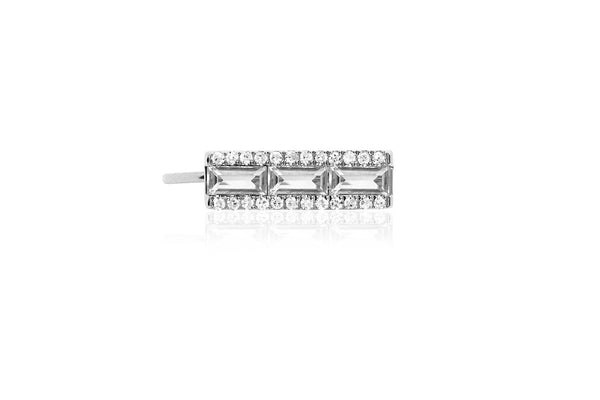 EF Collection Diamond White Topaz Baguette Ear Cuff - 1