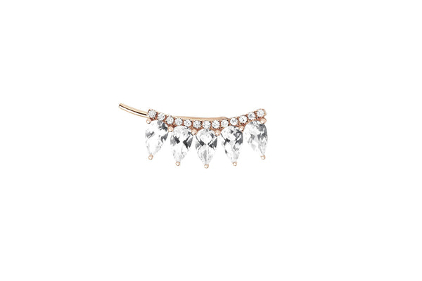 EF Collection Diamond White Topaz Fan Ear Cuff - 1