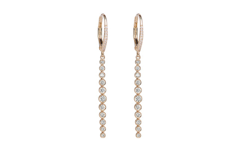 EF Collection Diamond Multi Bezel Vertical Bar Drop Earrings - 1