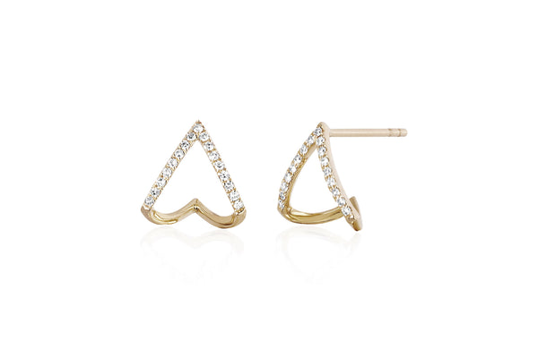 EF Collection Diamond Chevron Huggie Earrings - 1