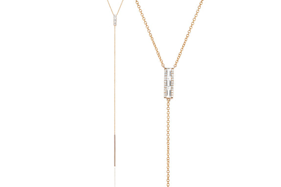 EF Collection Diamond White Topaz Baguette Lariat Necklace - 1