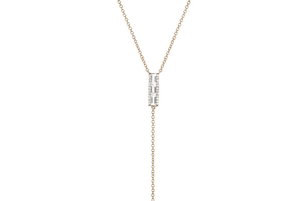 EF Collection Diamond White Topaz Baguette Lariat Necklace - 2