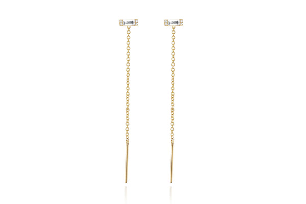 EF Collection Diamond White Topaz Baguette Threader Earring - 1