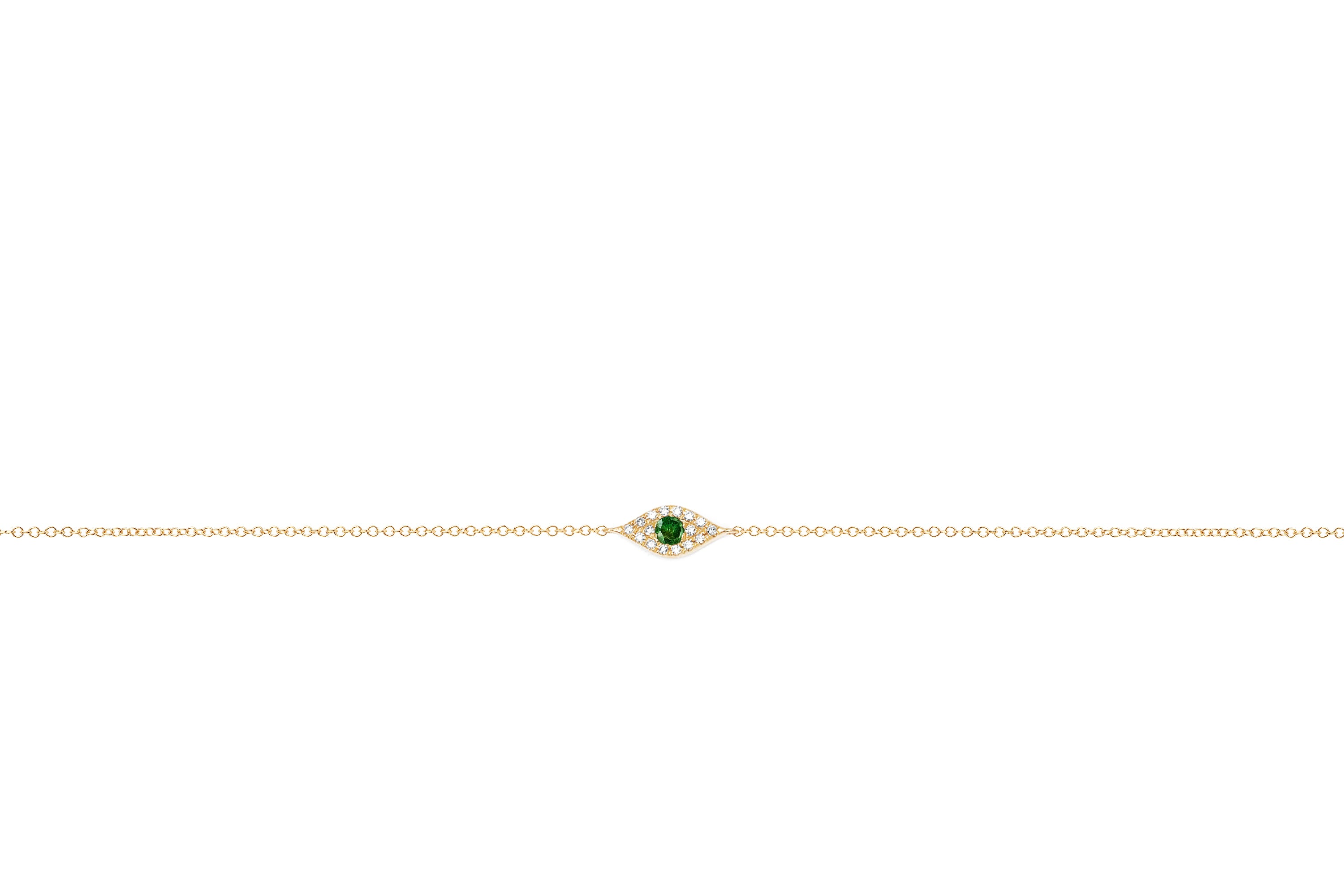 Diamond Tsavorite Evil Eye Chain Bracelet