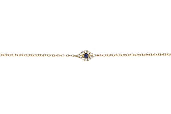 EF Collection Diamond Evil Eye Chain Bracelet - 1
