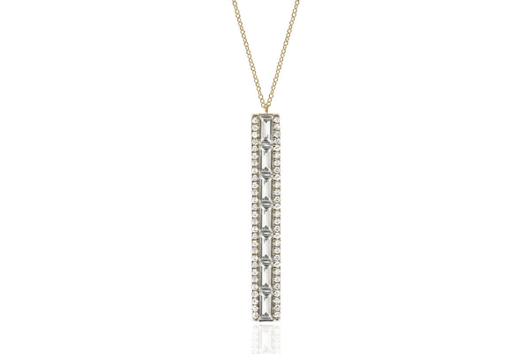 EF Collection Diamond White Topaz Vertical Baguette Bar Necklace - 1