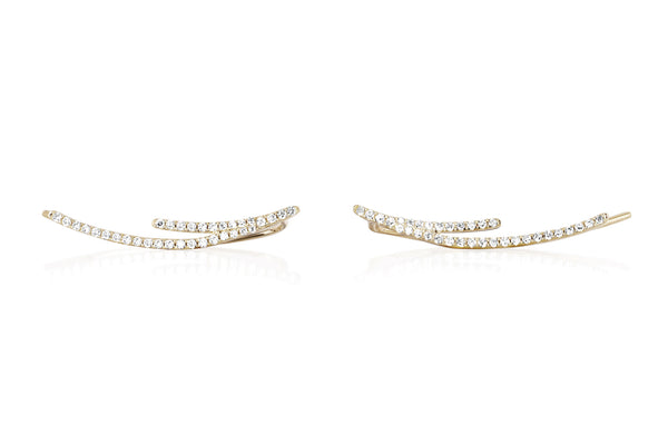 EF Collection Diamond Double Curved Bar Ear Cuff - 2
