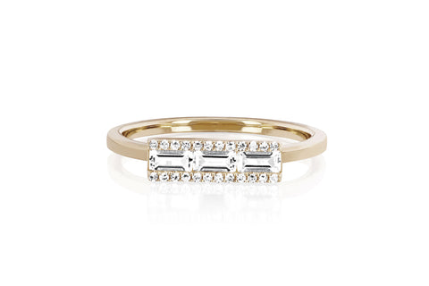 EF Collection Diamond White Topaz Baguette Stack Ring