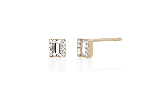 EF Collection Diamond White Topaz Brick Stud - 1