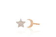 Diamond Star & Gold Mini Moon Stud Earring