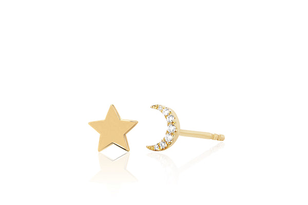 Gold Mini Star & Diamond Mini Moon Stud Earring