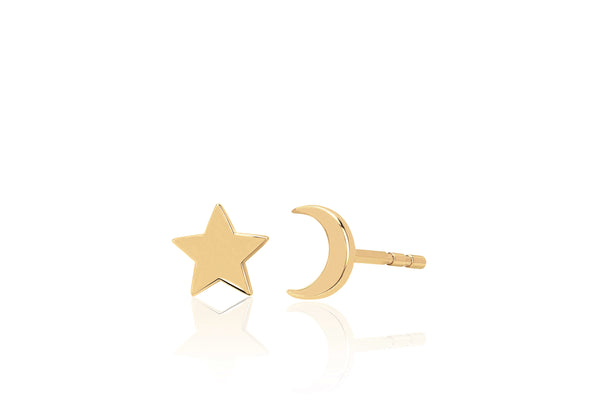 Gold Mini Moon & Gold Mini Star Stud Earring